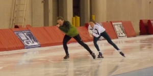 Andy Uttke's first time on ice speedskates. Melissa Dahlmann coaching.